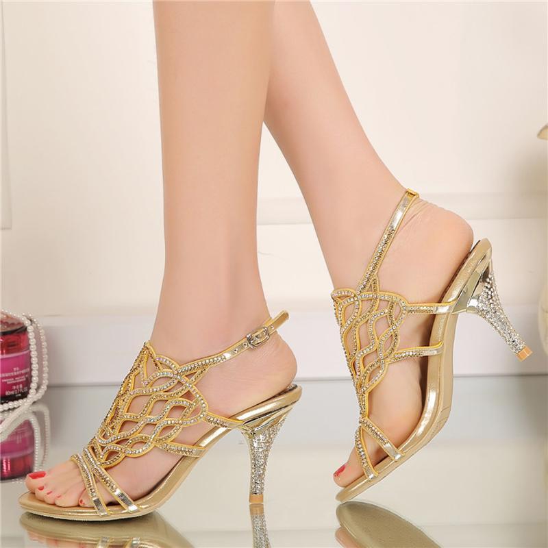 Moda sandalias de verano con diamantes de imitación hermosa boda banquete de tacones altos más el tamaño 34-44 color negro oro plata disponible