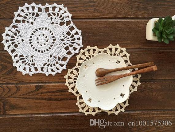 12 шт. в ~ 20 см ирисы цветочный узор крючком салфетки круглый, ручной крючком мат, свадебные центральные, ручной крючком стол коврики подставки дома