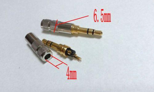 20pcs plaqué or mini cuivre 3.5mm 3 pôles mâle réparation casque à souder