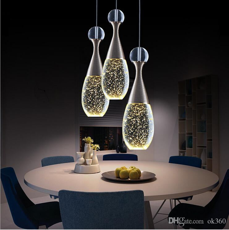 Modern Brief LED Restaurant Lights Bubble Lustre Crystal Pendant Light Bar  Work Table Living Room Chandeliers Lights Lighting Fixture Lamps Industrial  ...