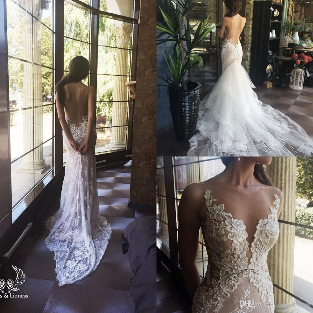 2017 New Sexy Mermaid Lace Wedding Dresses Bridal Gowns with Detached Train Illusion Jewel Backless Lace Appliques Beading Wedding Dress