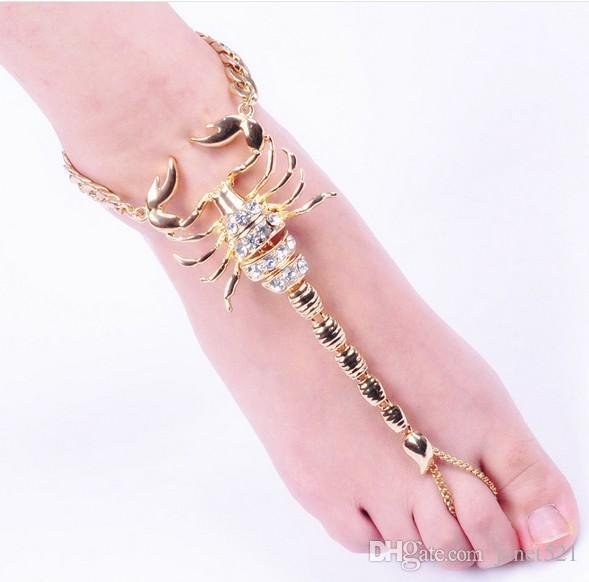 Scorpion Anklets Boho Women Ankle Bracelet Unique Scorpion Foot Chain Gold Tone Beach Barefoot Sandals Ankle Bracelets