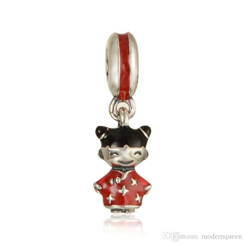 Charmes de poupée chinoise Beads S925 Sterling Silver Fits pour bracelets de charmes de style bricolage 791431Fenmx H8