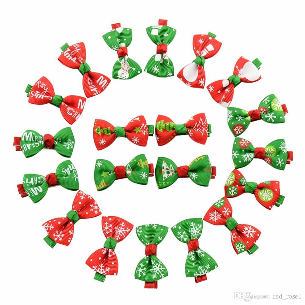 Schattige haar clip meisjes baby lint boog haar clip kinderen strik haarspeld kinderen haaraccessoires boutique kerst ornamenten