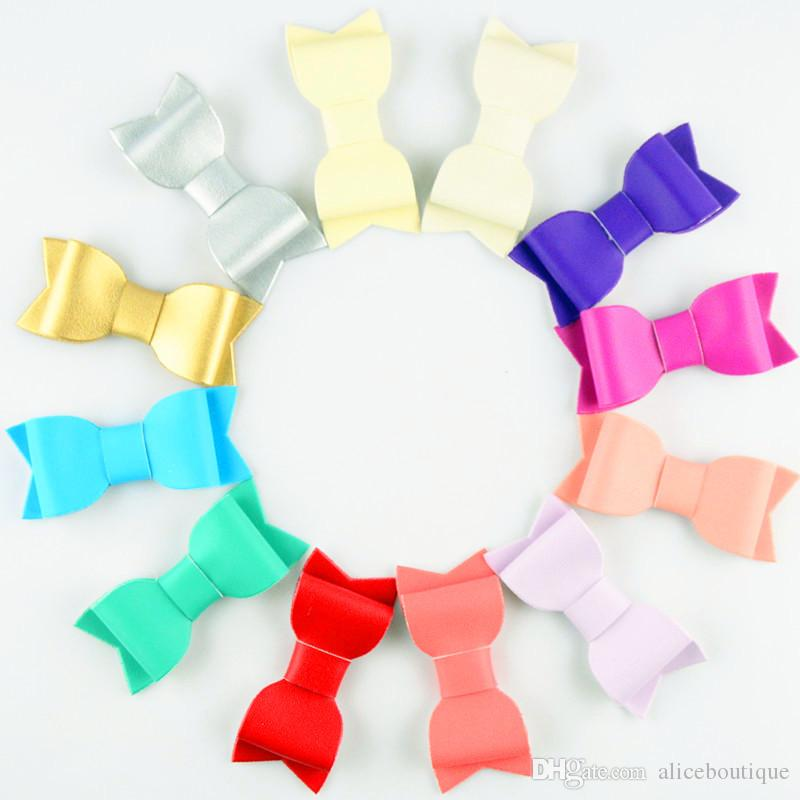 free shipping New 12 Colors 30pcs/lot Synthetic PU Leather Bow Baby Girls Hotsale Felt Bowknot Baby Hair Accessories H0214