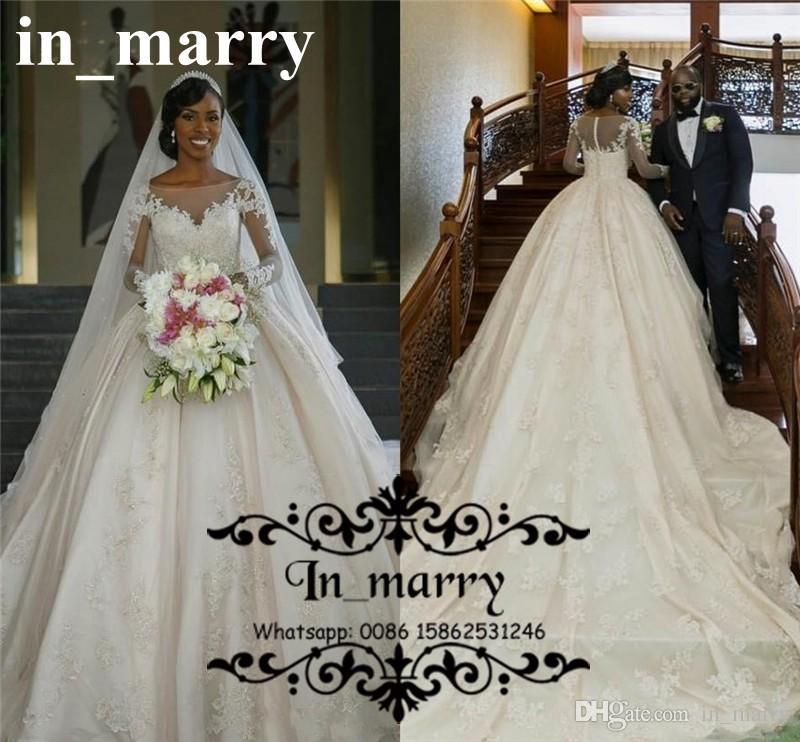 Bellanaija African Ball Gown Wedding Dresses 2017 Vintage Lace Long Sleeves Plus Size Luxury Nigeria Muslim Bridal Gowns Vestido De Novia 2018 From In Marry