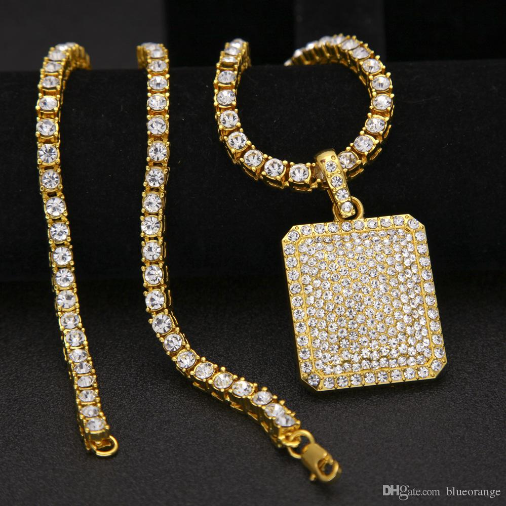 2017 new 18k Gold-plated silver unisex BlingBling HipHop diamond drill chain necklace Jewelry with luxury dog tag