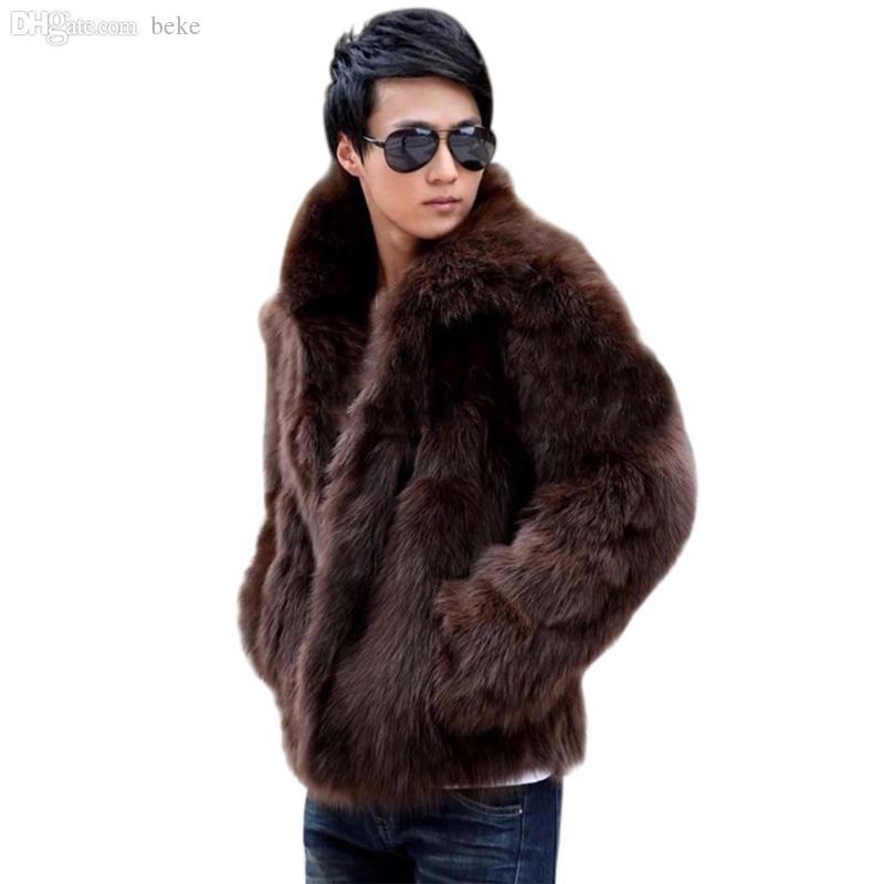 Queda-2016 Mens Moda Vetement Sólida Homme Faux Casaco De Pele De Raposa Casaco Quente Outwear Outono Inverno Estilo Plus Size L-3XL