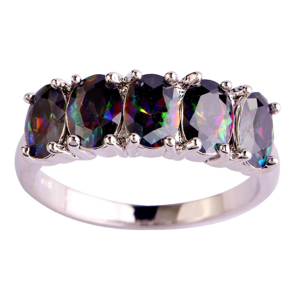 Vogue Jewelry Gems Lab Rainbow Topaz 18K Placcato oro bianco placcato anello d'argento Dimensione 6 7 8 9 10 donne anelli uomo libero spedizione gratuita all'ingrosso
