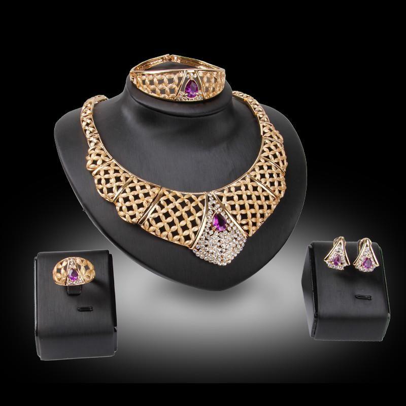 Bangle Necklace Earrings Ring Jewelry Set Luxury Fashion Women Rhinestone 18K Gold Plated Alloy Wedding Jewelry 4-Piece Set Wholesale JS211