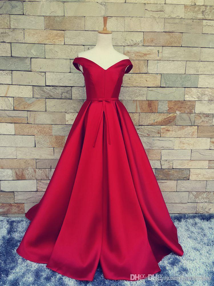 2017 Free Shipping Red A Line Evening Dresses vestidos de noiva V Neck Back Lace Up Formal Prom Gowns