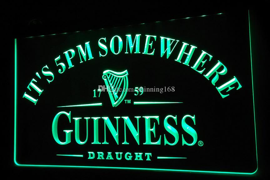 LS457-g It's 5 PM Somewhere Guinness Neon Light Sign