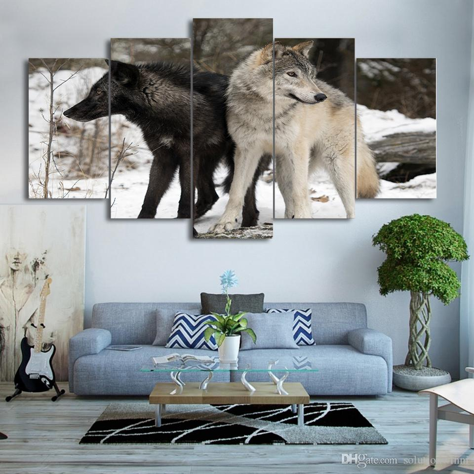 5 Pcs/Set Framed Printed Black and White Snow Wolf Home Wall Decor Canvas Picture Art HD Print Painting Artworks