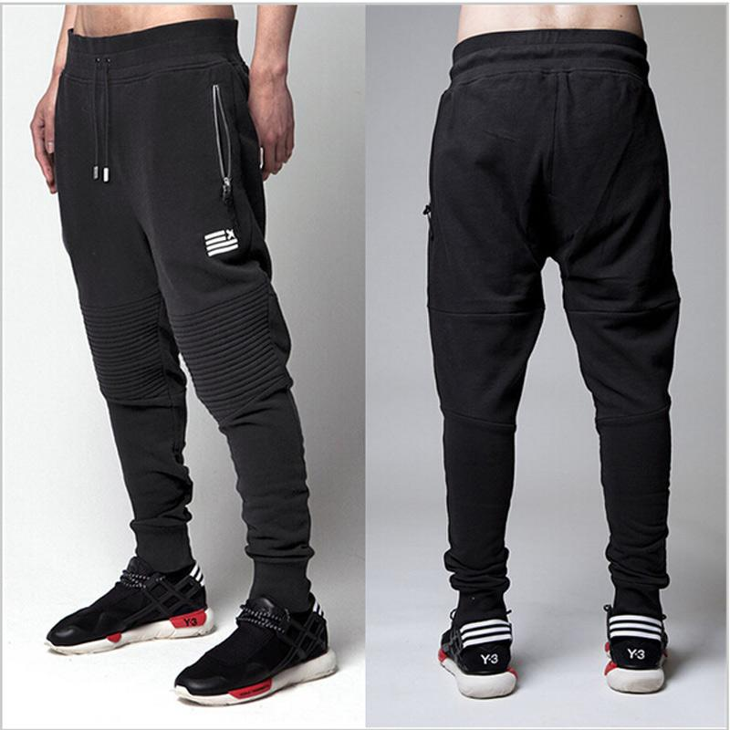 Atacado-High Street moda zíper mens joggers calças biker sweatpants legal mulheres e homens calças hip hop calças dos homens calças de dança de rua