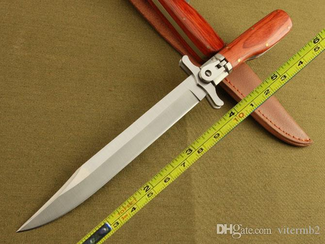 Free Shipping New 12'' 440 Blade Survival Bowie Large Wood Handle Botton Lock Folding Knife 25