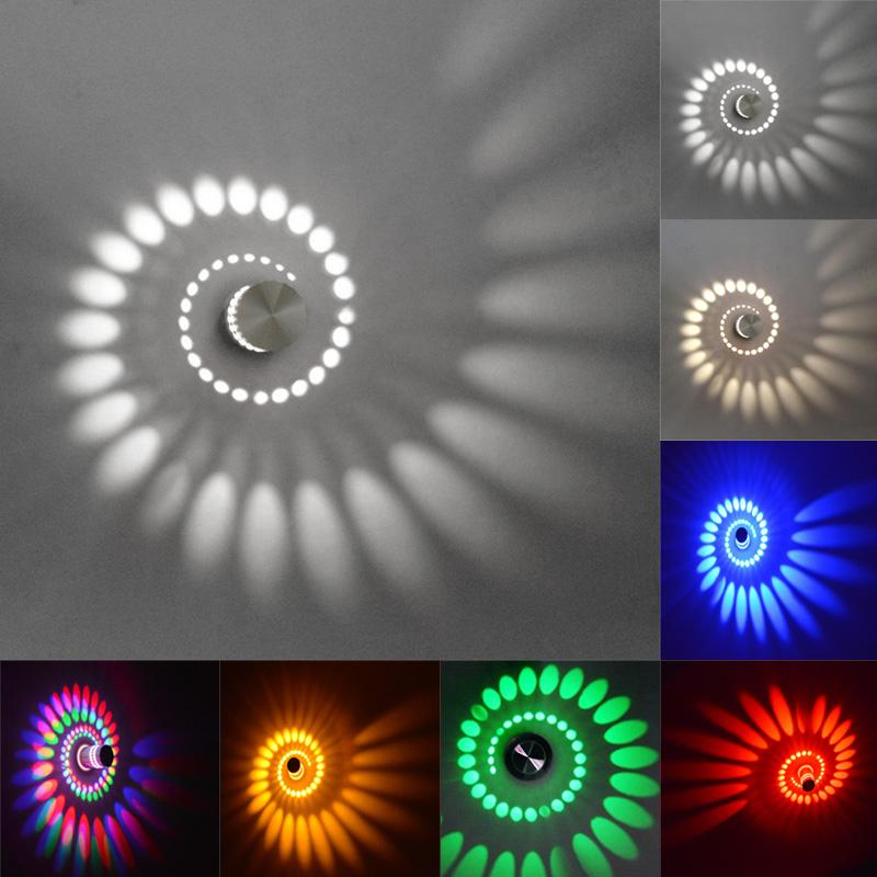 Moderna 3W LED Lámparas de pared 110V / 220V 7 colores KTV Karaoke Bar Decoración Espiral Sconence Techo Luz Living Roome Shop Coffe B1486