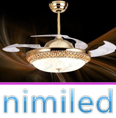 """nimi834 36 """"/ 42"""" lusso cristallo invisibile soggiorno ventilatore a soffitto lampada luci ristorante lampadario LED illuminazione a sospensione in oro"""