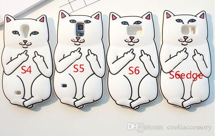 3D Ripndipp Pocket Cat Middle Finger Soft Silicone GEL Case For
