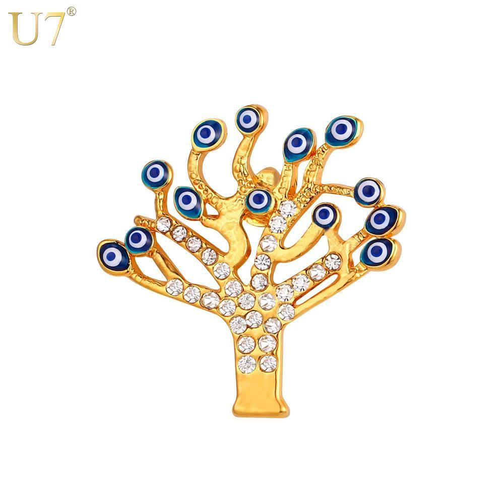 unico New Trendy Tree of Life spille gioielli fortunati donne regalo all'ingrosso 18 k reale placcato oro uomini spilla pin gioielli occhio malvagio b103