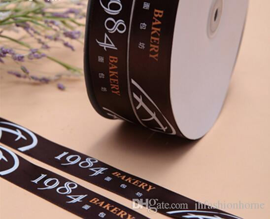 A roll for sale Customized 2 colors or above Logo DIY satin ribbon flat font/3D/iron Party Wedding & Personalized gift wrap packing