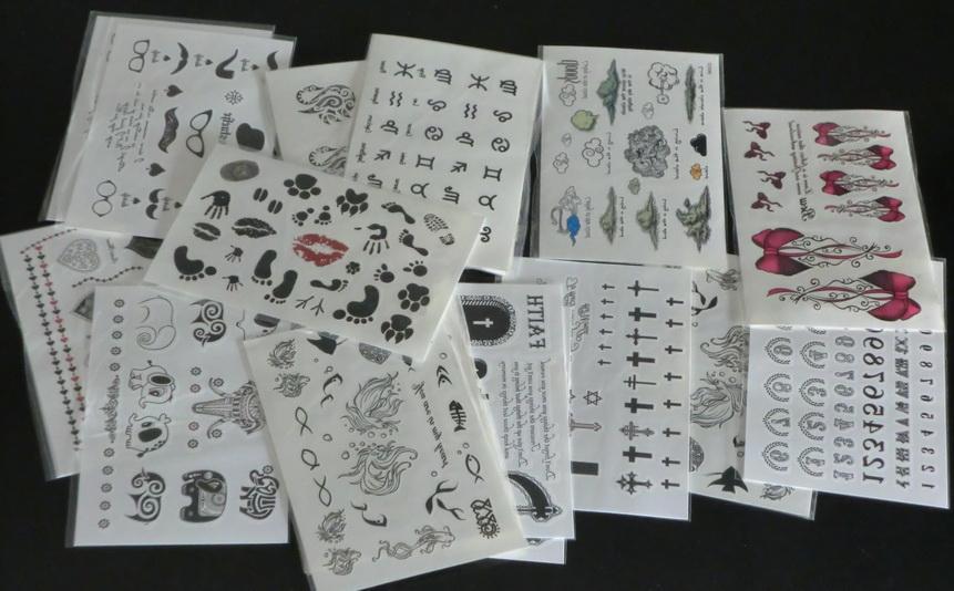 100 Pcs Atacado 9.5 * 14.5 cmTemporary tatuagem adesivos - para Body art Pintura - projetos misturados Tatuagens Temporárias