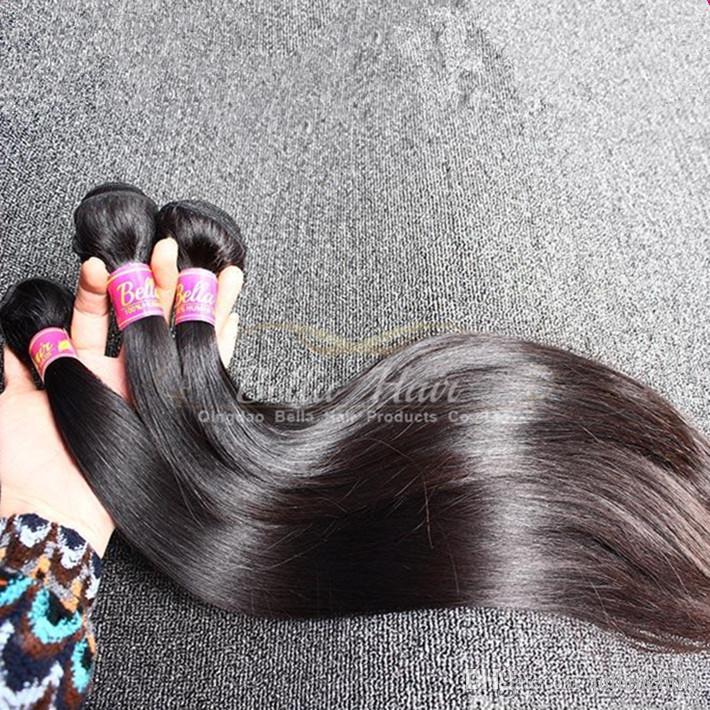 غير المجهزة اللون الطبيعي الهندي لحمة الشعر 3pcs / lot 9A Dyeable حريري مستقيم ملحقات الشعر الإنسان شحن مجاني