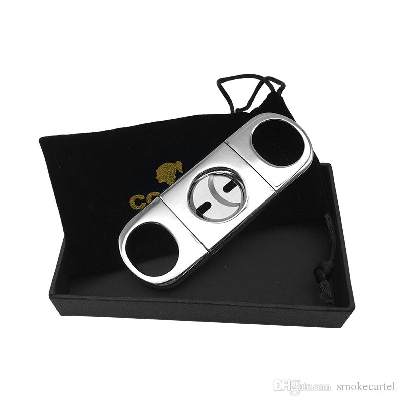 COHIBA Silver Color Gadgerts Metal Cigar Cutter Stainless Multifunctional With black Gift Box Case Tool Cigar Accessories