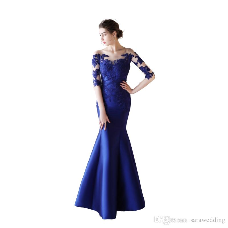 Lace Satin Mermaid Evening Dresses With Half Sleeves Royal Blue 2020 Scoop Neck Long Formal Dresses