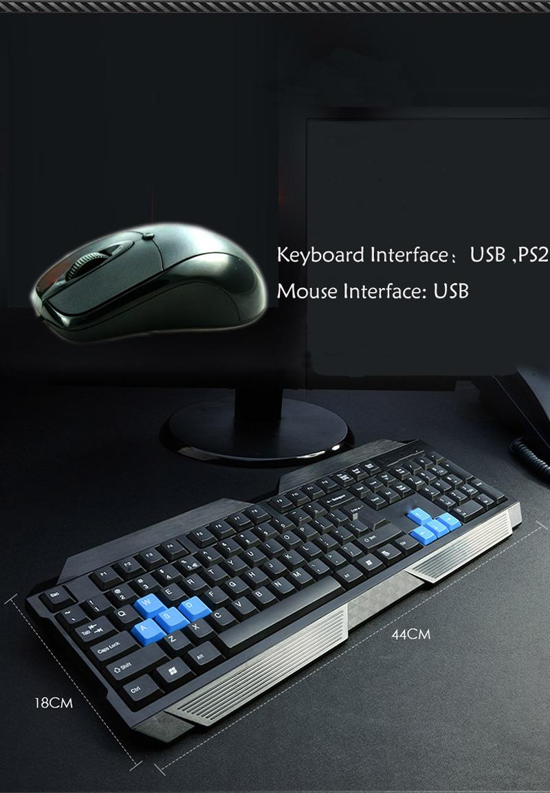 2018 Keyboards Usb Gaming Keyboard And Mouse Set Round Mouth ...