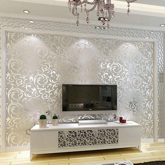 Wholesale Genuine Victorian Glitter Wallpaper 3d Silver Background