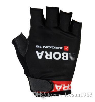 핫 세일 2015 BORA ARGON 18 PRO TEAM BLACK RED 사이클링 자전거 장갑 자전거 젤 Shockproof Sports Half Finger Glove