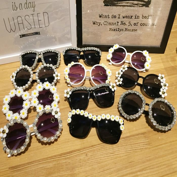 Designer Blume Sommer Outdoor Rose Shades Brille Oval Frauen Floral Sonnenbrille DIY Marke Sonnenbrille Strass Mädchen Strand Sonnenbrasse EXLB