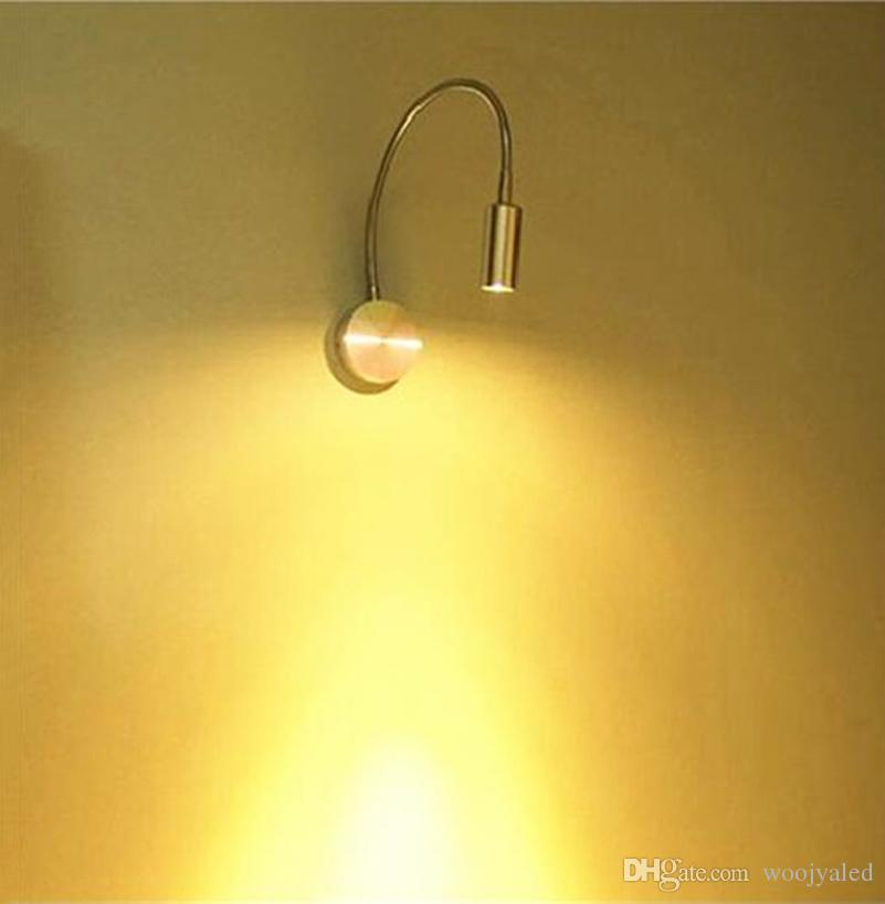 AC85-265v 3W led wall light mental flexible neck spotlight wall mounted white or warm white with switch on/off bedside read lamp