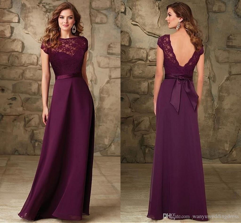 Maroon Bateau Cap Sleeves Bridesmaids Gowns Backless Floor Length ...