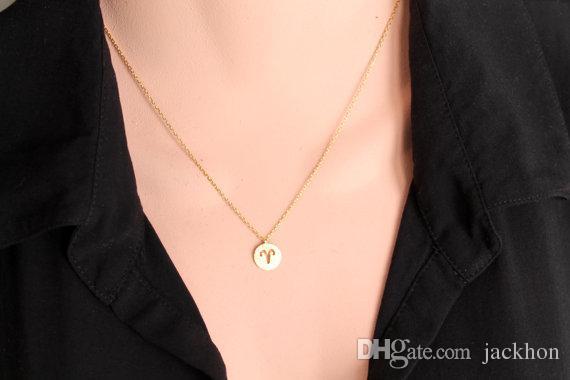 Ариэль Овен ожерелье знаки 12 Зодиака созвездия ожерелье гороскоп астрология диск Коза ожерелья Для подарок на День рождения монеты ювелирные изделия