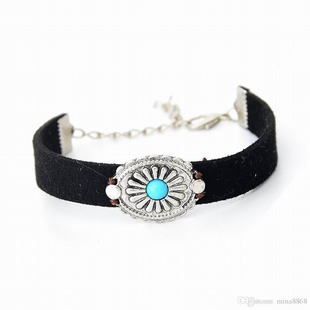 Handmade Braid Vintage Black Coffee Genuine Leather Bracelet For Woman  Femme Bracelet Men Turquoise Charm Bracelets