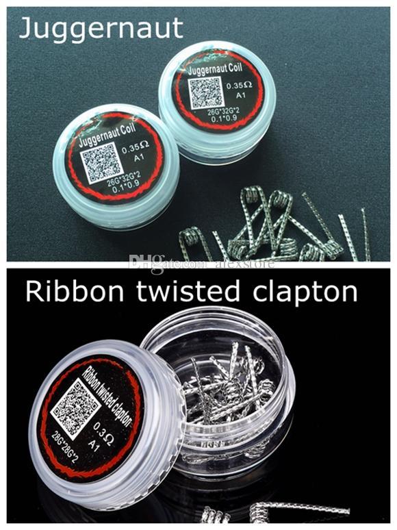 Juggernaut Wires 0.35ohm Ribbon Twisted Clapton 0.2ohm 0.3ohm Premade Wrap Prebuilt Resistance Coils 10pcs/box for Vape RDA RTA