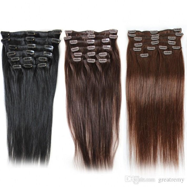 """Greatremy Brasilian Clip In Human Hair Extensions Staight # 1 # 2 # 4 120g / set Remy Hair Weft 20 """"24"""" Toppkvalitetsklipp i hårförlängning"""