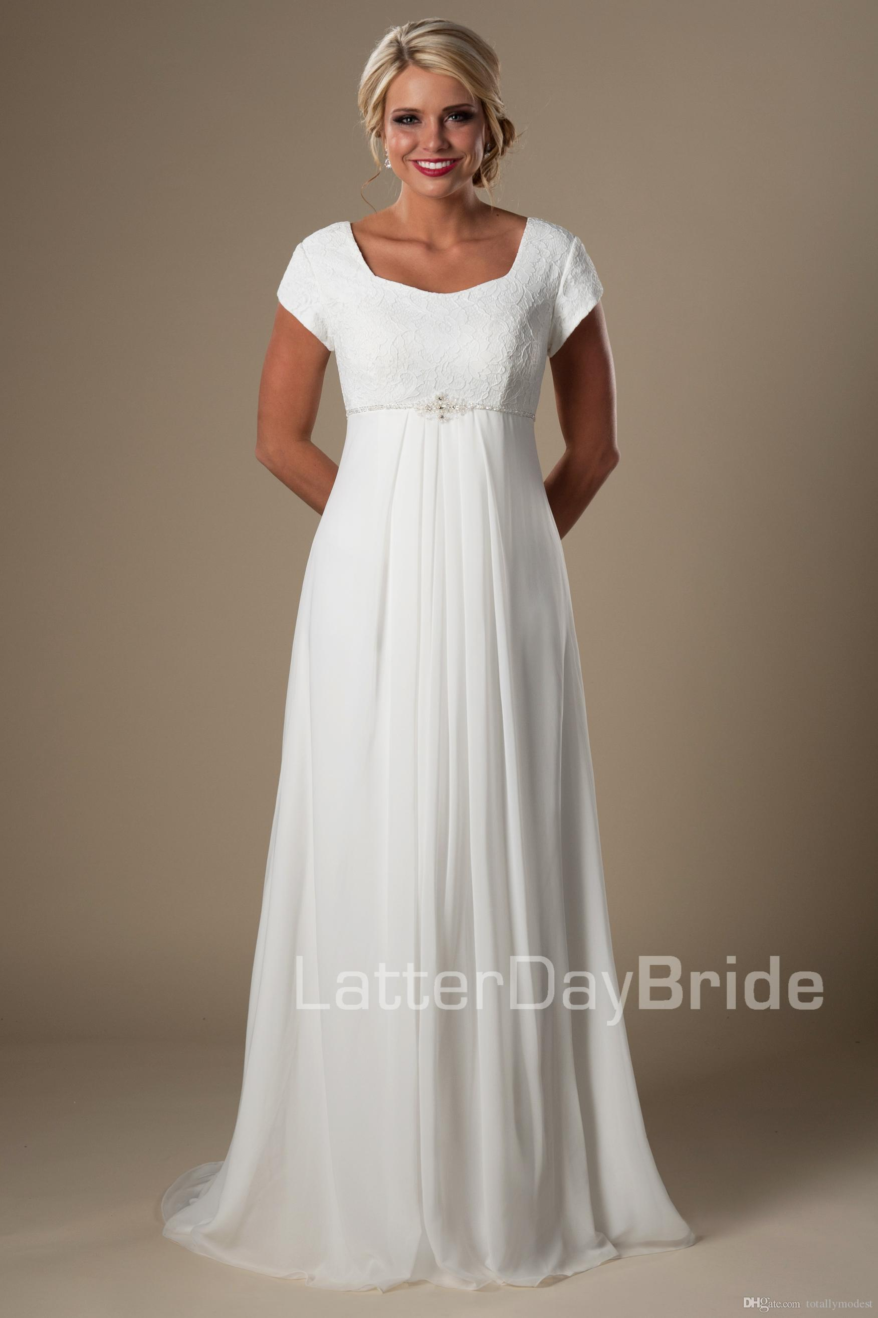 Informal Ivory Lace Chiffon Beach Modest Wedding Dresses With Cap Sleeves A-line Temple Bridal Gowns Floor Length Wedding Gowns New