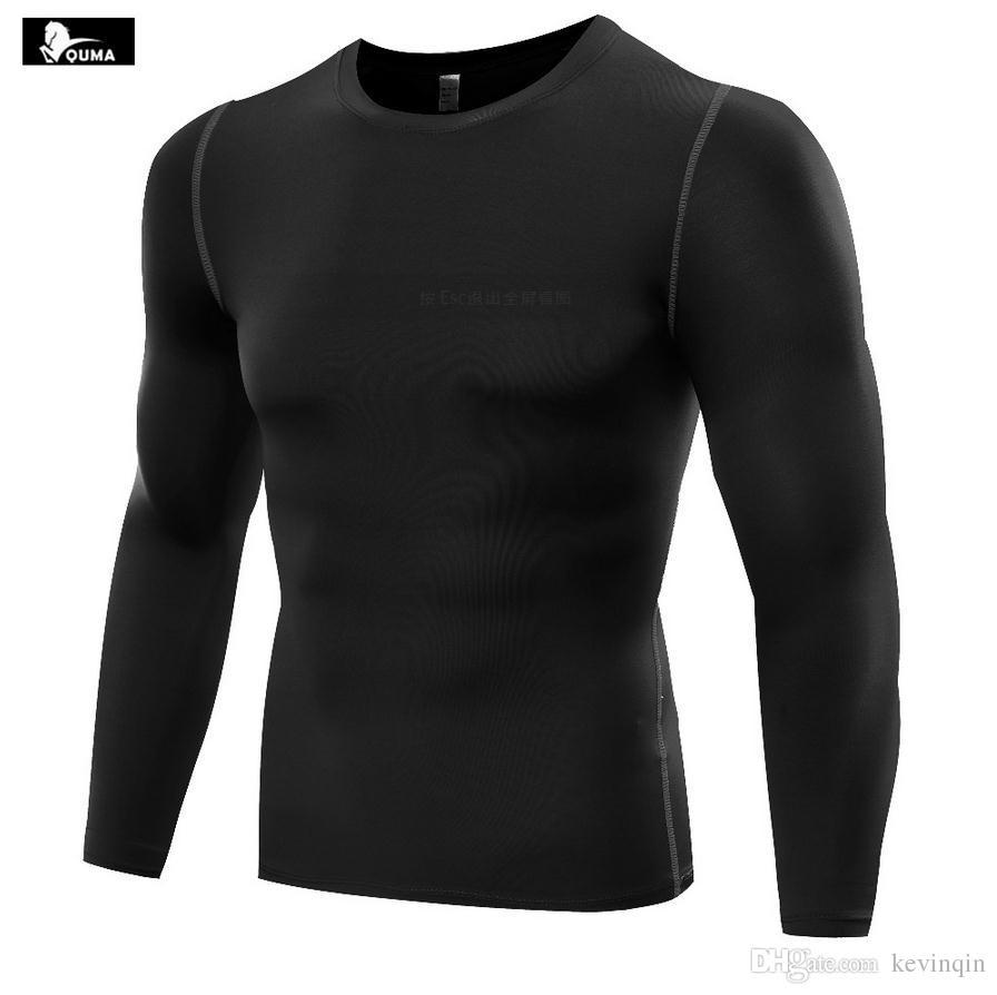 Neue 2016 Outdoor Männer Pro Sport Sweat Fitness Laufen Engen Basisschicht Elastische Schnell trocknende Langhülse Basketball T-shirts B5019