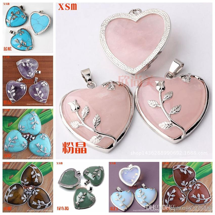 11 Colors Elegant Rose Quartz Heart Flower Pendant Bead 34mm*35mm Natural Crystal Heart-Shaped Fit Necklace Making