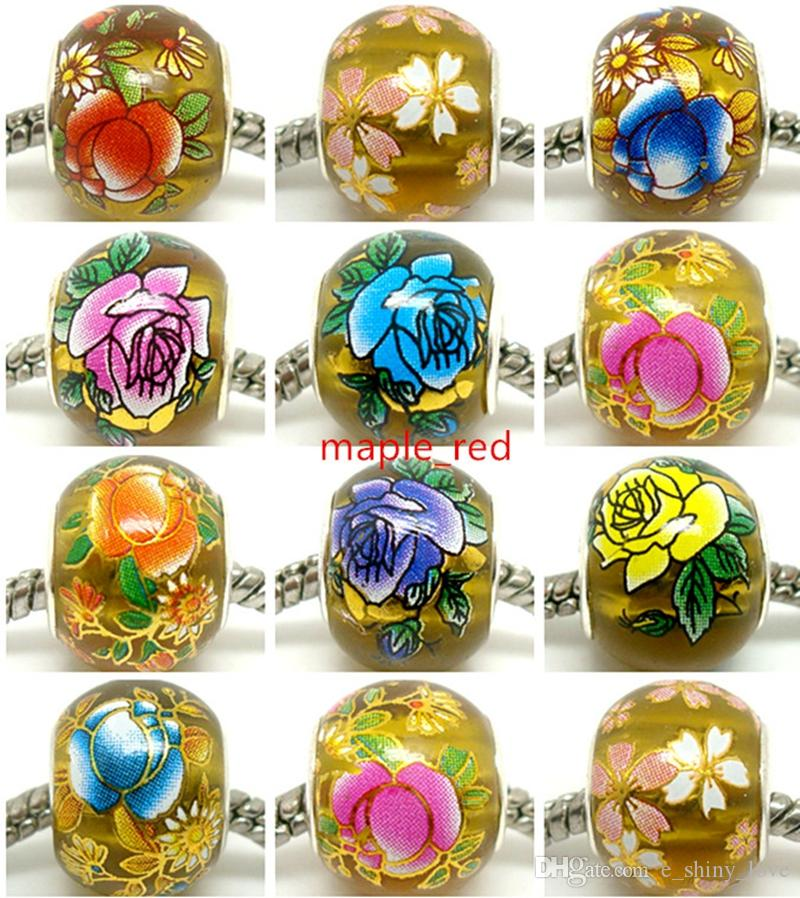 50pcs Round Mixed Gold Flower Crystal Beads for Jewelry Making Loose Lampwork Charms DIY Beads for Bracelet Wholesale in Bulk Low Price