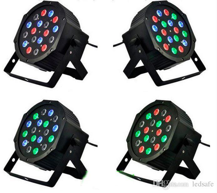 RGB LED PAR LUCE 18x3W 110V 220 V Effetto fase Lampadine di illuminazione con DMX512 Funzione dell'apparecchiatura per DJ Disco Dco Decorazione per feste di nozze CE Rosh
