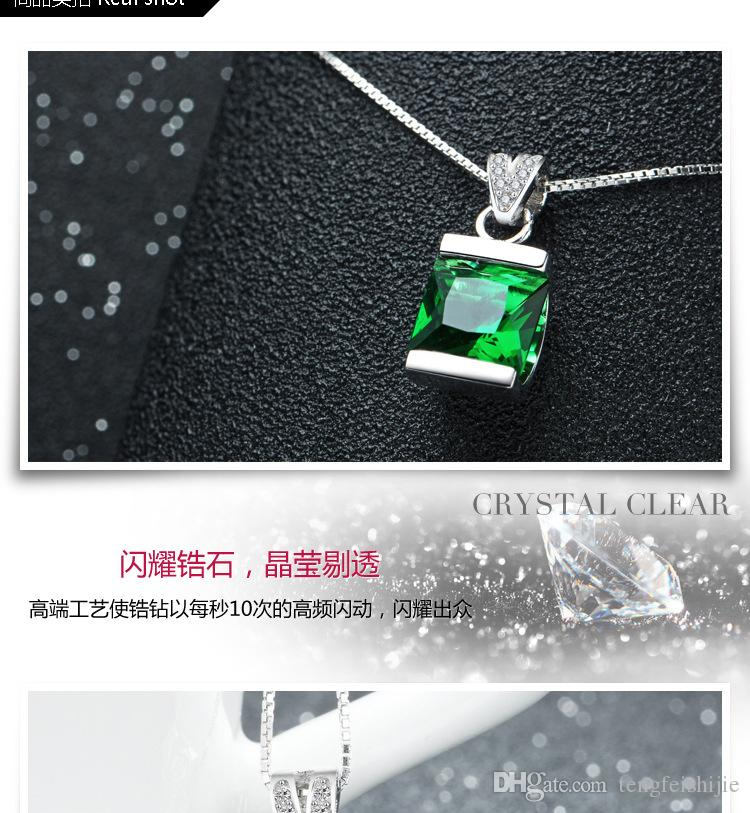 Étnica Moda 925 pingentes de prata esterlina acessórios de cristal de esmeralda