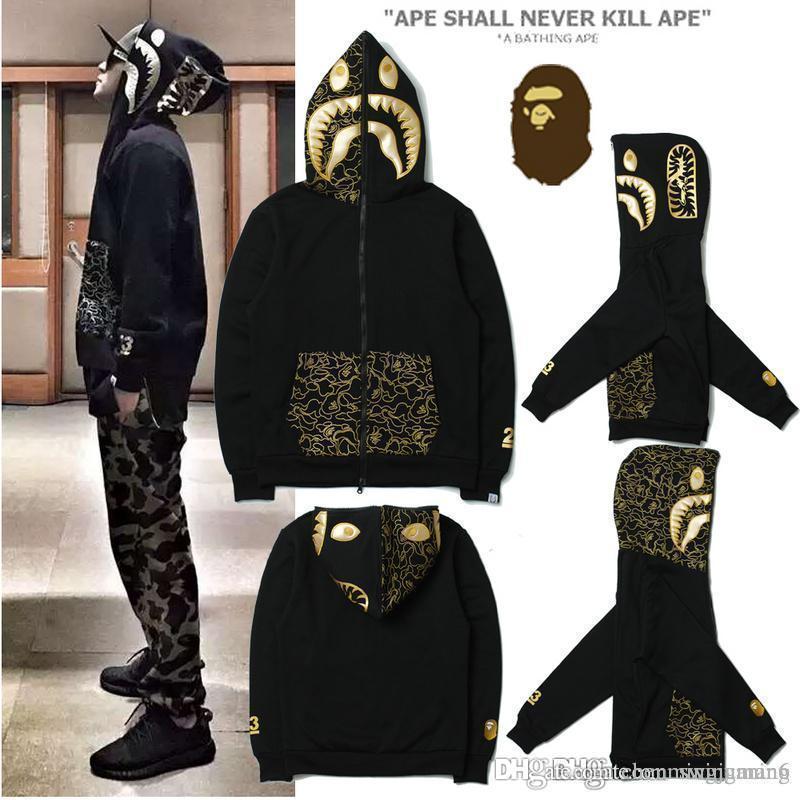 Sonbahar ve kış Moda Köpekbalığı Ağız Baskılı Camo Patchwork Hoodies Mavi Camo Hırka Hoodie Hip Hop Spor Severler Streetwear Tişörtü