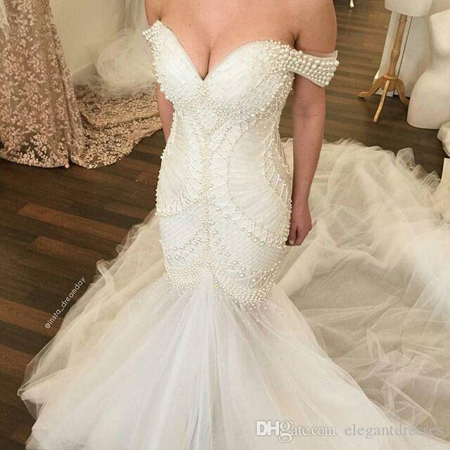 Real Image Mermaid Off Shoulder White Tulle Beaded Pearls Beach Vintage Nigerian Wedding Dresses Bridal Gowns 2021