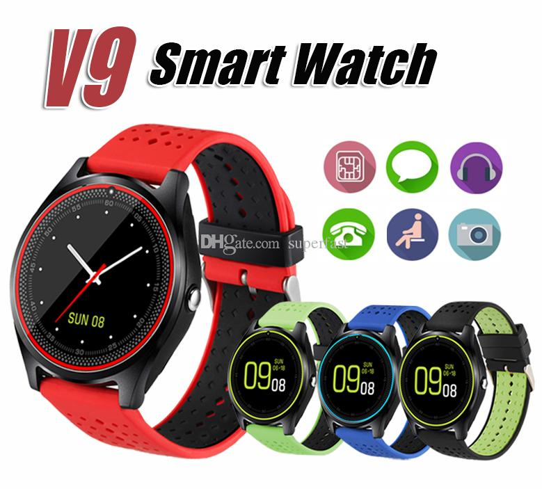 V9 Smart Watch with Camera Heart Rate Monitor Bluetooth Smartwatch SIM Card Wristwatch for Android Phone with Package