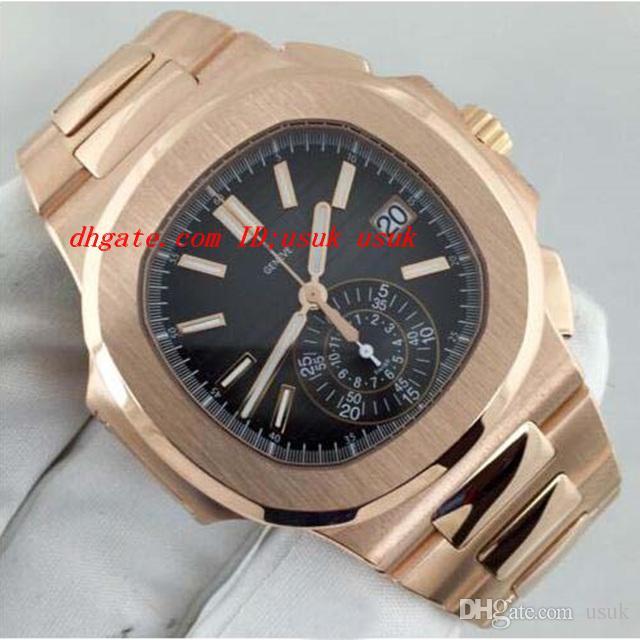 Recém-luxo relógio de pulso novo automático n @ utilus 5980 / 1r preto mostrador 18kt rosa ouro mint mint relógios relógios masculinos