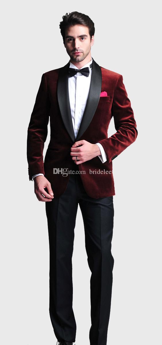 Bordeaux Velours Slim Fit 2020 Tuxedos Costumes De Mariée Sur Mesure Groomsmen Meilleur Homme Costumes De Bal d'étudiants Pantalon Noir (Veste + Pantalon + Arc + Hanky)