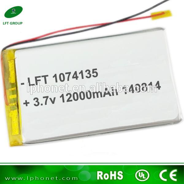 Alta Potência 1074135 3.7 v 12000 mah li-ion bateria de polímero para o painel solar carregador de banco de energia da bateria lipo